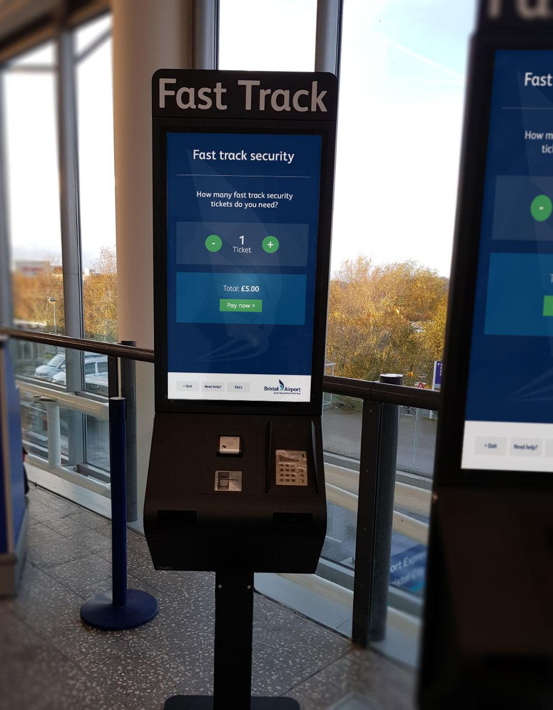 Bristol Airport Fast Track kiosk